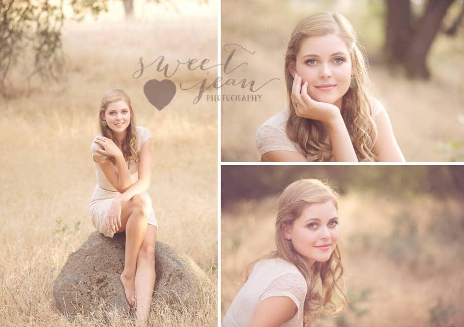 gorgeous senior portrait in golden field Roseville Senior Photographer