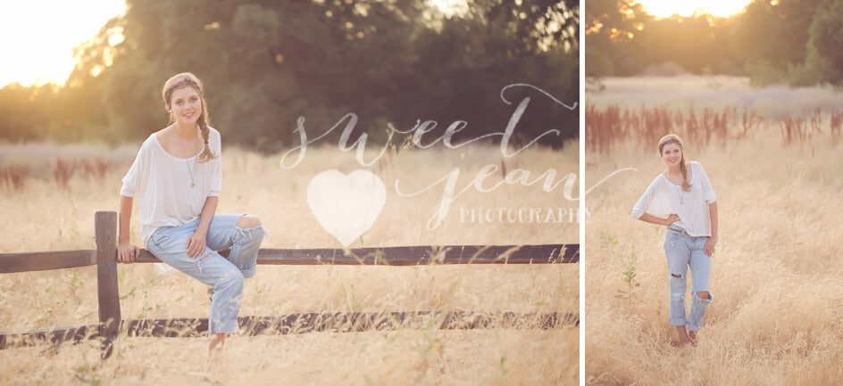 bohemian gypsy in a field Roseville Senior Photographer