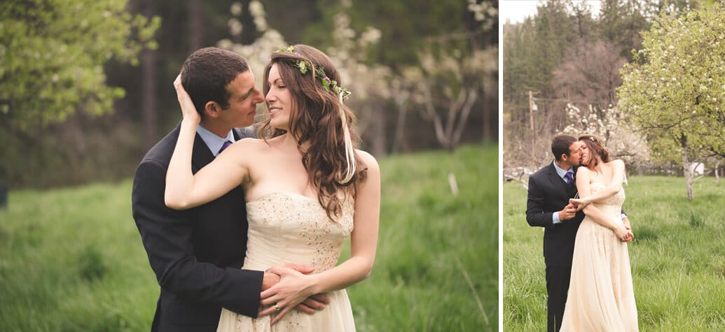 Nevada City Wedding kiss in orchard