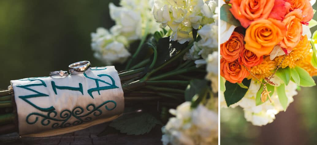 beautiful ring detail with bouquet on wedding day