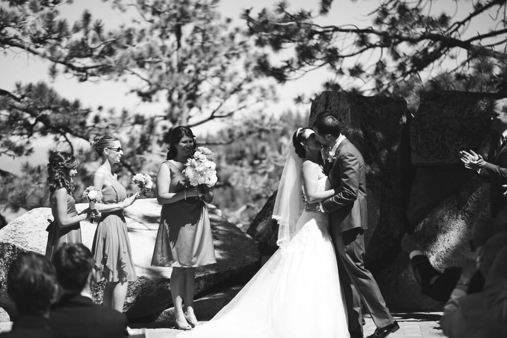 The Ridge at Tahoe Wedding first kiss