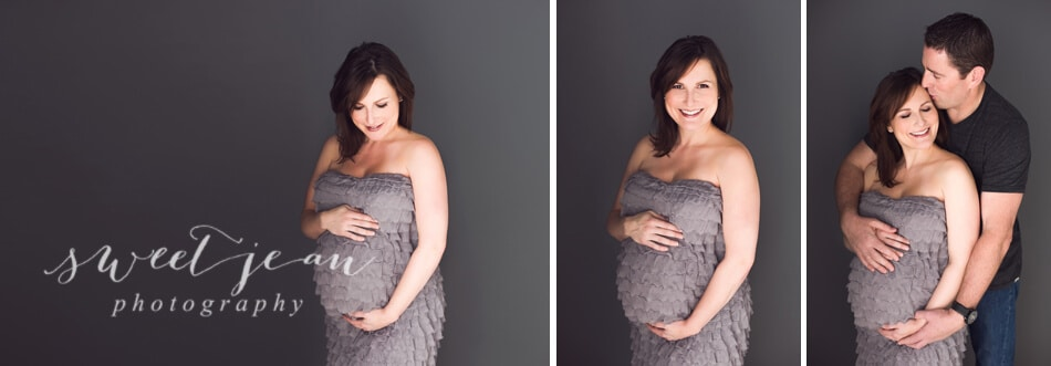 glamour maternity portrait in grey ruffled dress waiting for caden