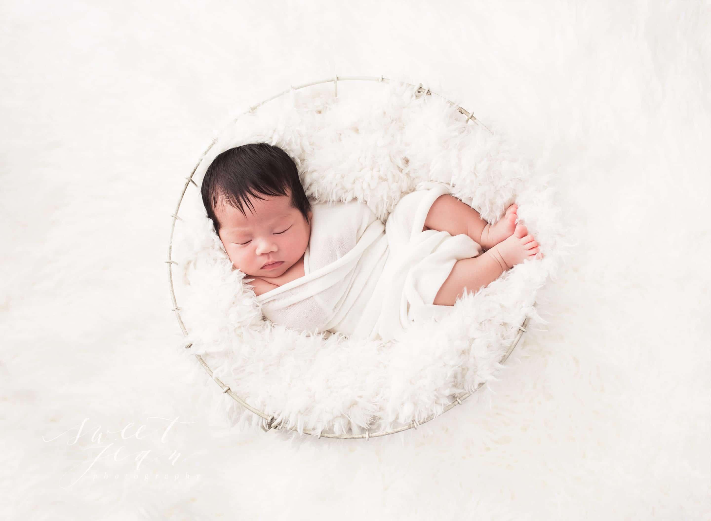 Sacramento Newborn Photographer Sweet Jean Photography Baby in White Basket