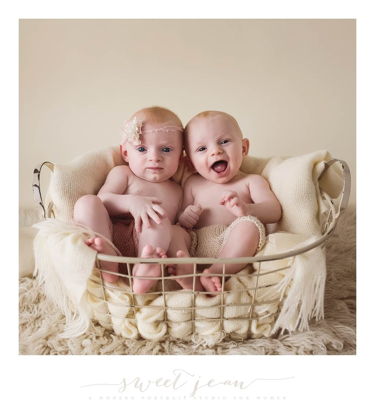 sweet twins in a basket