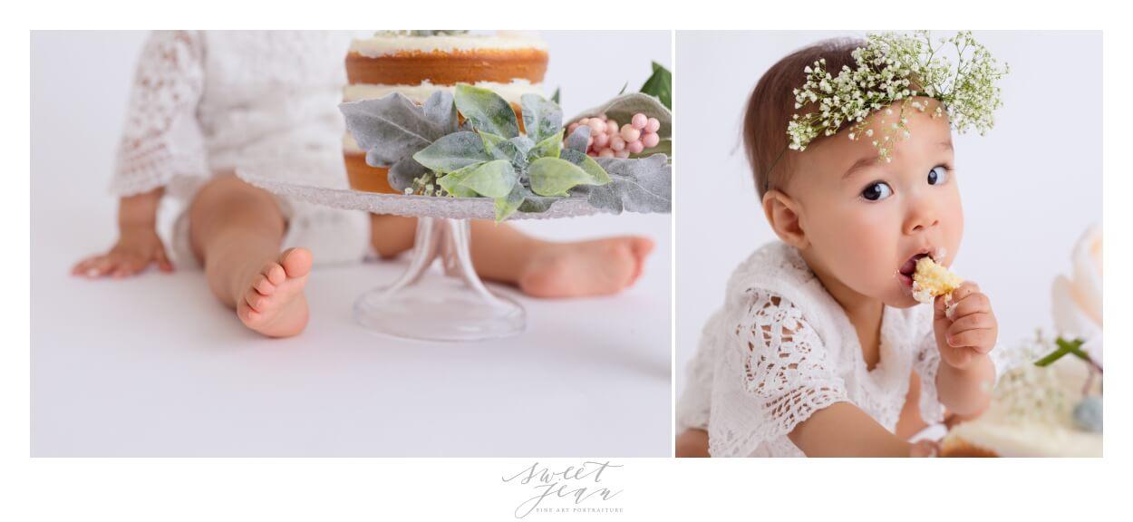 baby eating cake 1st birthday Sacramento Baby Photographer Sweet Jean Photography