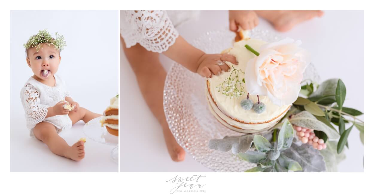 baby girl eating cake 1st birhtday florals Sacramento Baby Photographer Sweet Jean Photography