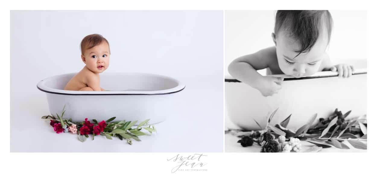 baby girl in floral bath Sacramento Baby Photographer Sweet Jean Photography