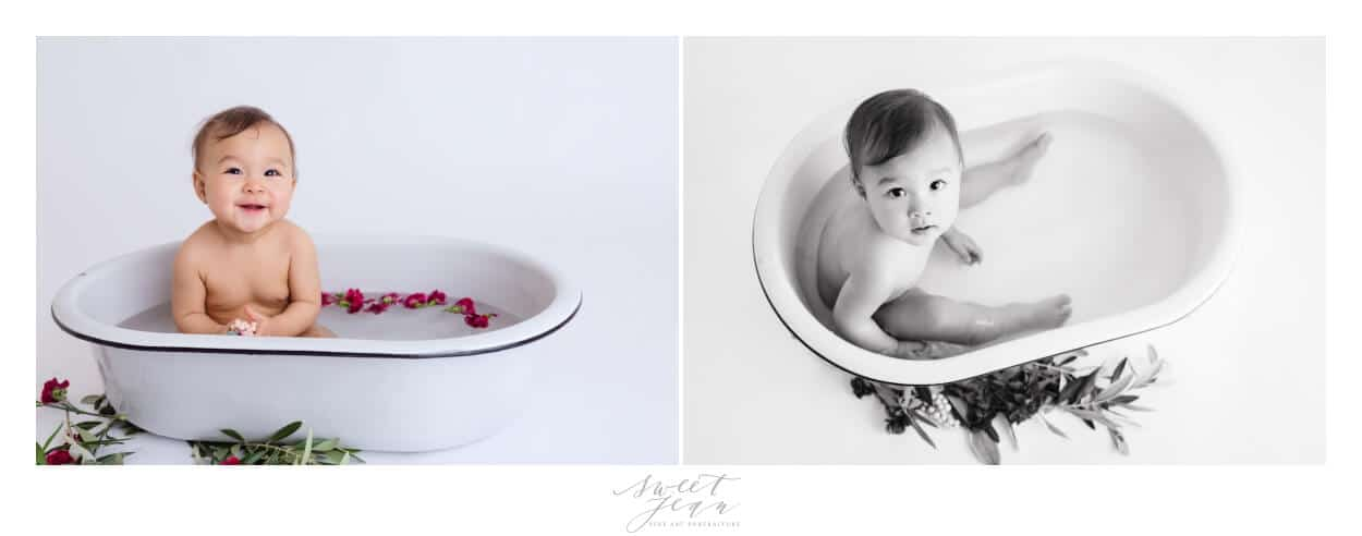 baby girl in bath with flowers Sacramento Baby Photographer Sweet Jean Photography