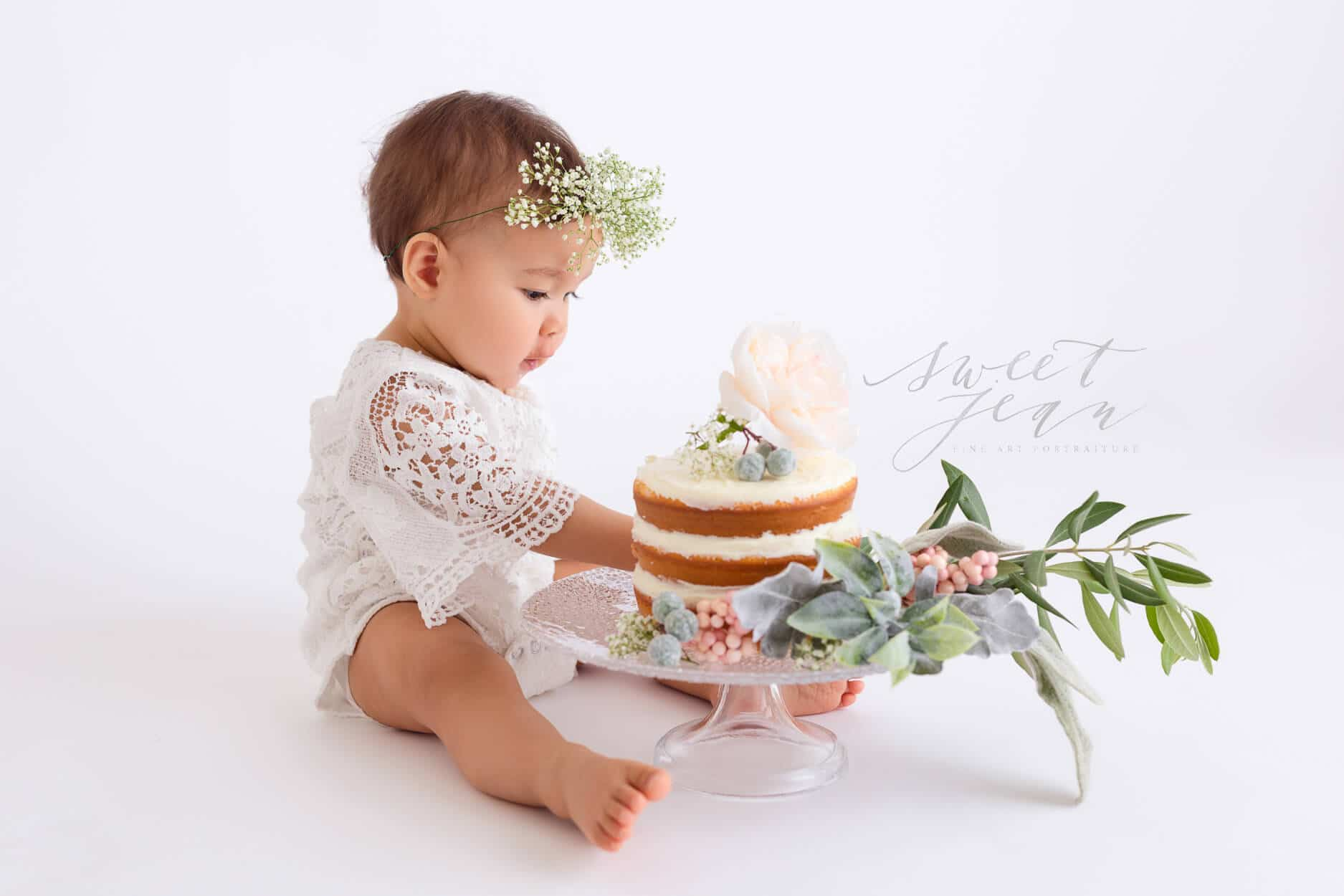 Baby Girl Floral Cake Smash Session sweet jean photography sacramento